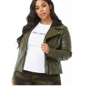 F21+ Olive Green Faux Leather Moto Jacket 3X
